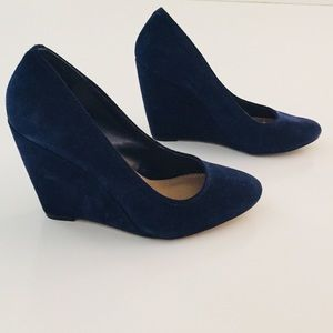 Blue Suede Wedged Pump